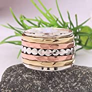 Anillos de plata de banda ancha para mujer,925 Sterling Silver Band, Brass and Copper Spinner Ring for Women,