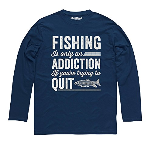 Fishing Addiction Langarmshirt Funny Novelty Gift, Herren Dunkelblau
