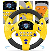 HOTEU Learn Steering Wheel Interactive Early learning toy for Kids Colorful Emotions Music game for babies