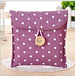Nalmatoionme Woman Cotton Bag Blends Dotted Sanitary Napkin Holder Bag Pouch (Purple)