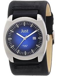 Just Watches Herren-Armbanduhr XL Analog Leder 48-S1992-BL-BK