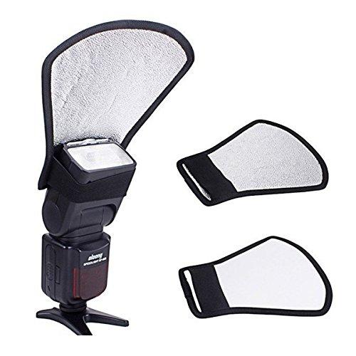 Seite-diffusor (Forfar Zwei Seiten Flash Diffusor Softbox Kamera Flash Reflektor Bounce Card Diffusor Softbox Silber/Weiß Reflektor Speedlite Zubehör)