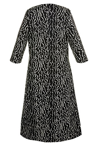 Ulla Popken Femme Grandes tailles Femme Robe Longues Manches Casual Tunique Style Basique T-Shirt Tops Mini Robe 713223 Multicolore