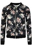 LCL- Frauen Mädchen Blouson Damen Übergangsjacke mit Blumen Blüten Muster - Bomberjacke Floral Jacke Größe:34-44 (XL, 42/44, Black - Flower Print)