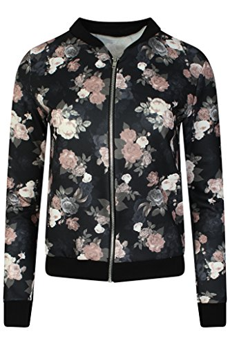 LCL- Frauen Mädchen Blouson Damen Übergangsjacke mit Blumen Blüten Muster - Bomberjacke Floral Jacke Größe:34-44 (M/L, 38/40, Black -...