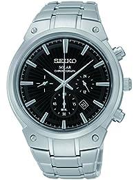 Seiko SSC317 Relojes de los hombres del núcleo Solar es negro como se muestra en el reloj de pulsera de acero con textura