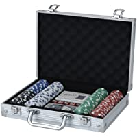XQ Max Poker Set 200 Piece Chip Game - Black/Silver/Red/White