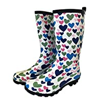 Jileon Girls Blue Heart Funky Wellies