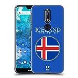 Head Case Designs Isländische Fahne Fahnen Flicken Ruckseite Hülle für Nokia 7.1