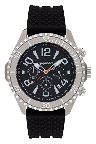 Gigandet Reloj de Hombre Cuarzo Aquazone Cronógrafo Analógico Silicona Negro G23-002