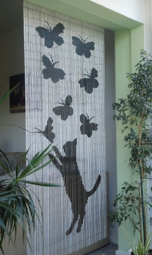 Unbekannt Bambustürvorhang Bambusvorhang Türvorhang Lucky Cat ca. 115 x 220cm
