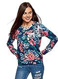 oodji Ultra Damen Bedrucktes Sweatshirt mit Rundem Ausschnitt, Blau, DE 38 / EU 40 / M