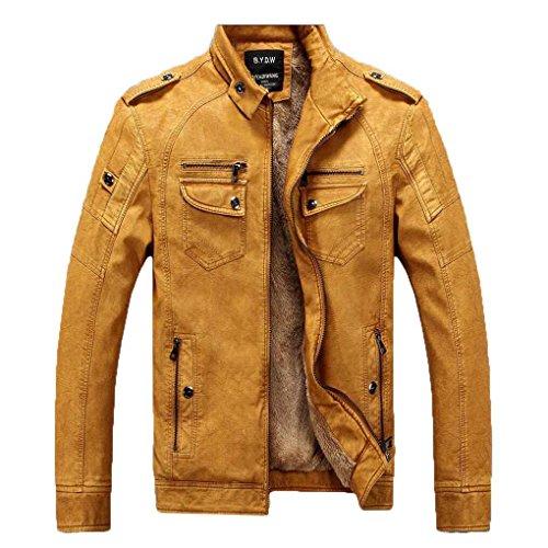 Winter PU Leder Zipper Jacke Herren Langarm Plus Samt Stand Kragen Slim Fit Herrenjacke Biker Stil Retro Weiches Leder Lässig Jacke Mantel (Lässige Herren-leder-jacke-mantel)
