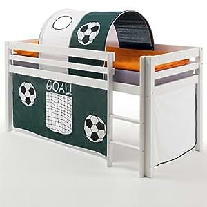 Lit mezzanine de jeu pour enfant en pin massif laqué et tunnel blanc mAX rideau foot - 90 x 200 cm (l x l)