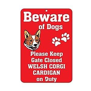 Cardigan Welsh Corgi Dog Beware Of The Fun Neuheit Outdoor Yard Dekorative Aluminium Metall Schild
