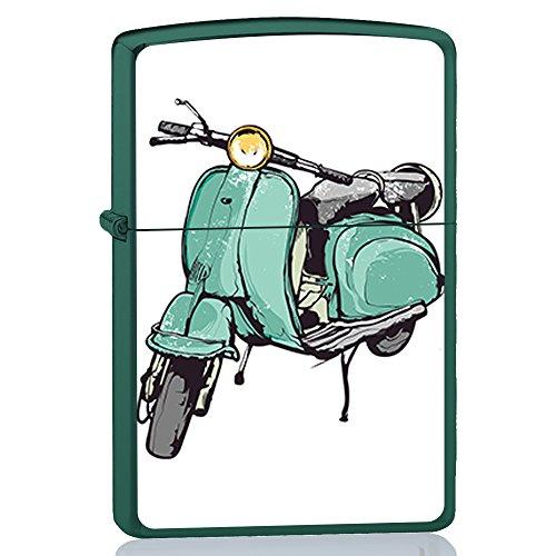 BJJ Accendino verde, accendino a benzina con design: Moto scooter vintage blu