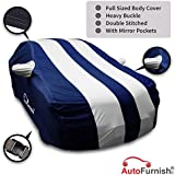 Autofurnish Arc Blue Stylish Silver Stripe Car Body Cover For Maruti Ciaz