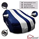 Autofurnish Stylish Silver Stripe Car Body Cover for BMW X1 - Arc Blue
