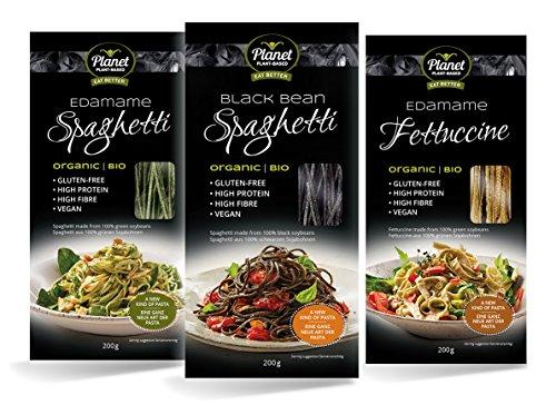 Planet Plant-Based, 3er Pack Bio Bohnen Nudeln Auswahl Vegan - Eiweiss Pasta, Glutenfrei, Reich an Protein - Edamame Spaghetti, Edamame Fettuccine, Schwarze Bohnen Spaghetti, 3er Pack (3x200g) -