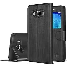 Samsung Galaxy J5 Funda , SAVFY® Funda de View Case Cuero de la PU con Ventana para Samsung Galaxy J5 (2016) , Negro