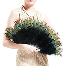 BABEYOND Roaring 20s Vintage estilo pavo real y negro Marabou Pluma Fan Flapper Accesorios (38cm L & 68cm Spread)