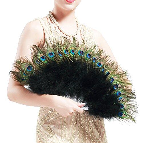 BABEYOND Pfau Feder Fächer Schwarz Marabou Feder Fächer 1920s Vintage Stil Retro Handfächer Damen Gatsby Kostüm Flapper Zubehör (38cm L & 68cm (Kostüme Für Halloween Pfau)