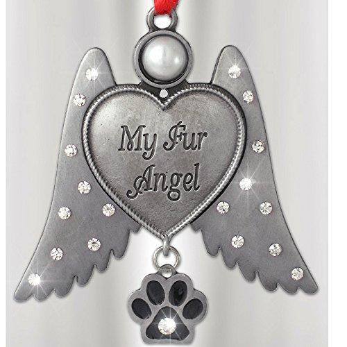 Gedenktafel für Hunde –-Cat Memorial –-Engel zum Aufhängen Ornament mit Strass Edelsteinbesetztes Flügel und Paw Print Charm–My Fell Angel Gravur auf Herz–Metall 7,6cm (Dog Lover Schlüsselanhänger Charm)