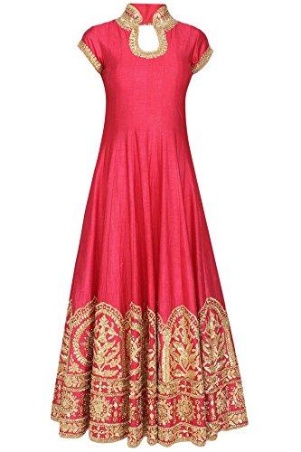 Market Magic World Woman\'s Banglori Silk Semi-stiched Lehenga Choli (MMW-04086_Free Size_Pink)