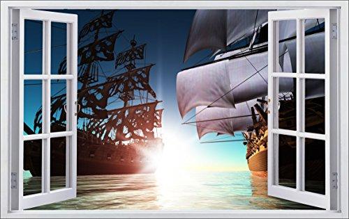 (DesFoli Piraten Schiff 3D Look Wandtattoo 70 x 115 cm Wanddurchbruch Wandbild Sticker Aufkleber F552)