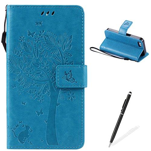 Apple iPhone 5/5S/SE Custodia, Feeltech Sbalzato Albero Gatto Farfalla Modello Fiore Progettazione [Stylus Pen] Per il coperchio Apple iPhone 5/5S/SE Case, Elegante Cuoio dellunità di Elaborazione Ca Blu