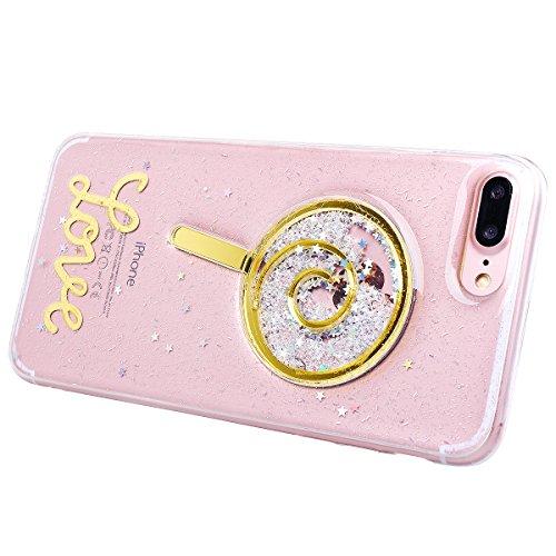 Custodia iPhone 7 Plus, VemMore Case di Silicone Morbida Protettiva Lusso Sparkle Bling Gilitter Cover con 3D Patterned Floating Liquido Fluido Premium Custodia di Cristallo Molle TPU Caso del Creativ Lecca-lecca