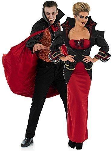 Paar Damen UND Herren Vampir Passend Halloween KostüM Kostüme Outfits UK 8-30 Übergröße & Herren M-XL - Rot/schwarz, Damen EU 40/42 Herren (Passende Paare Kostüme Halloween)