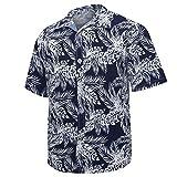 MOTOCO Herren Hawaiihemd / 3D-Druck Lässig Button-Down/Vordertasche/Beach Holiday Aloha Beach Sommer Kurzarmhemd(XL,Schwarz-2)