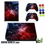 Xbox One X Skin Sticker, Morbuy Sternenklarer Stil Designfolie Vinyl-Folie Aufkleber für Konsole + 2 Controller Aufkleber Schutzfolie Set +10 pc Silikon Thumb Grips (Blauer orange Stern)