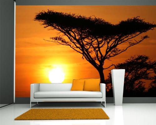 Bilderdepot24 Vlies Fototapete - Akazienbaum im Sonnenuntergang, Tanzania Serengeti Afrika - 200x130 cm - mit Kleister – Poster – Foto auf Tapete – Wandbild – Wandtapete – Vliestapete