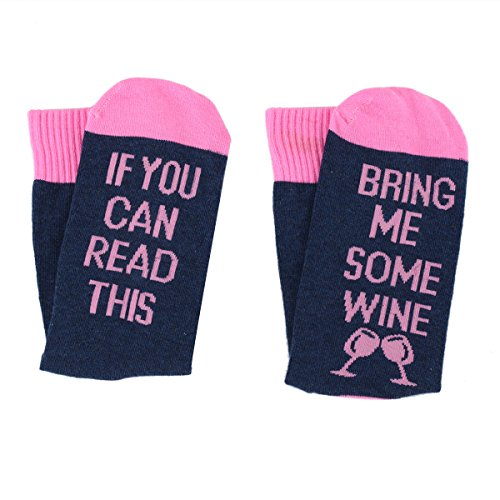 Women Cotton Socks If You Can Read This Bring Me Some Wine Novelty Gifts (Navy)
