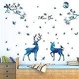 Ulanda DIY Elch Hirsch Blätter Baum Abnehmbare Wandtattoo Wandaufkleber Wandsticker Dekor für Wohnzimmer Schlafzimmer Kinderzimmer