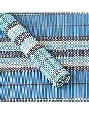 Untersetzer verwendet werden Natürliche Bambus Ethnischen Design Tischset mit Sechs Einheiten Haus und Mehr - Blau