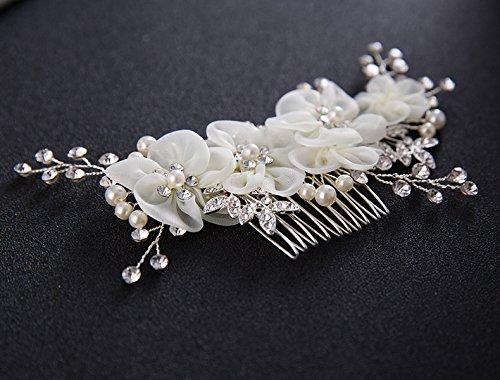 Musuntas Handarbeit Eleganter Retro elegant Damen Blumen Braut Kamm Perlen Strass Hochzeit Brautschmuck Braut Haarschmuck Strass Haarklammer - 4