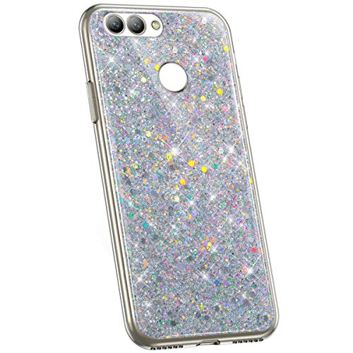 Jinghuash Kompatibel mit Huawei Nova 2 Hülle Luxus Glitzer Kristall Glänzend Strass Diamant Silikon Schutzhülle Ultra Dünn Crystal Clear TPU Silikon Handyhülle Tasche Case-Silber