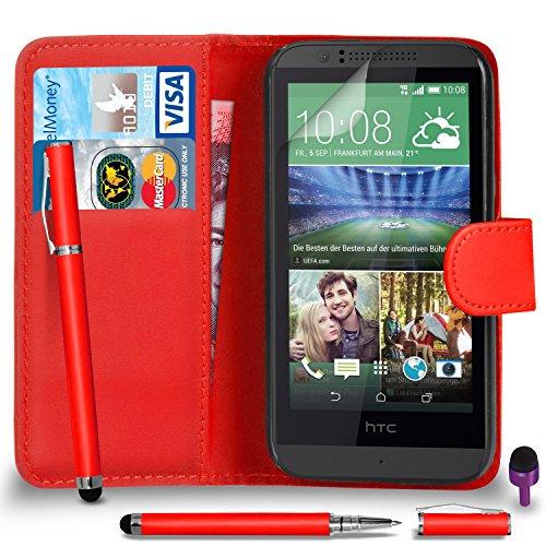 ie Leder ROT Brieftasche Flip Fall hülle mit 2 IN 1 Kugelschreiber touch-Stylus Bildschirmschutz & Poliertuch Violett Kappe (Htc 510 Fällen Geld)