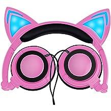 LOBKIN Auriculares para el oído de gato Auriculares de los niños que destellan Cosplay que brilla intensamente los oídos plegables del juego del oído con la luz del LED para las muchachas, los niños, compatible para el iPhone 6S, teléfono androide (rosado)