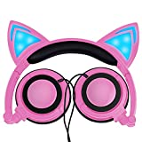 Cuffie Auricolari Gatto Orecchio,LOBKIN Lampeggiamento Bambini Cuffie Moda Ardore Cosplay cuffia, Pieghevole Over-Ear Cuffie Gaming con Luce Principale per Ragazze, Bambini, Compatibile per iPhone, Android Phone, PC (Rosa)