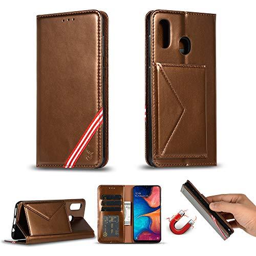 Miagon für Samsung Galaxy M30 Hülle,Wallet Case Cover Schutzhülle und Klapp Magnetisch Flip Bumper Ledertasche Schutzhülle,Braun