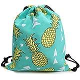 Oflamn Drawstring Gym Sack - Sports Gym Bag for Boys, Girls, Kids, Men and Women- Nylon Shoulder Bag for Beach Holidays, Hiking, Walking, Storage (pineapple)