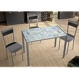 Mesa para cocina fija con tablero de cristal templado serigrafiado frutas 105x60cm