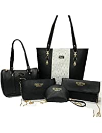 Combo Handbag For Woman Branded | Set Of 5 Handbag,Sling Bag,Wallet,Shoulder Bag & Coin Pouch| Premium PU Leather...