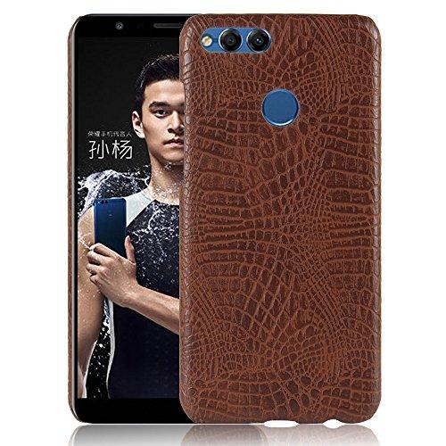 YHUISEN Luxus Klassisches Krokodil Haut Muster [Ultra Slim] PU Leder Anti-scratch PC Schutzhülle für Huawei Honor 7X ( Color : Orange ) Brown