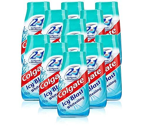 12x Colgate 2 in 1 Zahnpasta und Mundwasser eisiger Whitening 100 ml Reisegröße (Zahnpasta Colgate Whitening)
