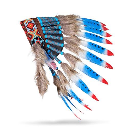 Pink Pineapple Indianer Inspiriert Feder Kopfschmuck Rot Weiß Blau (Chief Kostüm Indian Native)
